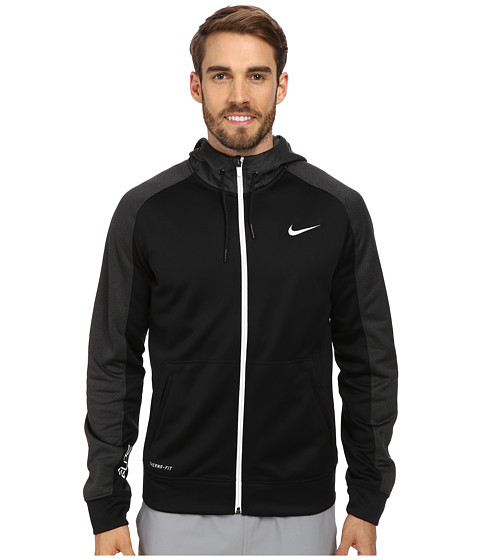 Nike - Elite Stripe Full-Zip Performance Fleece Hoodie (Black/Black Heather/White/White) Men