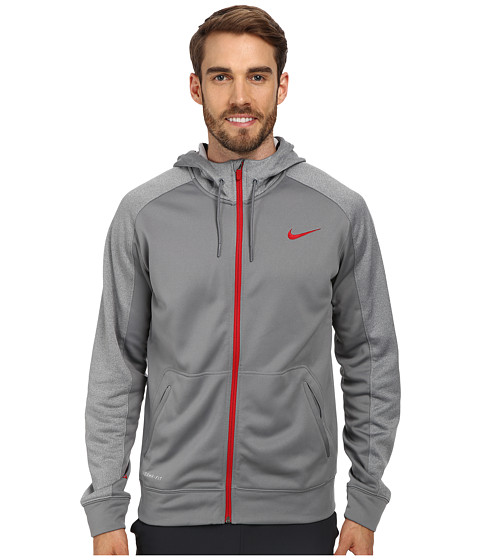Nike - Elite Stripe Full-Zip Performance Fleece Hoodie (Cool Grey/Carbon Heather/Gym Red/Gym Red) Men's Coat