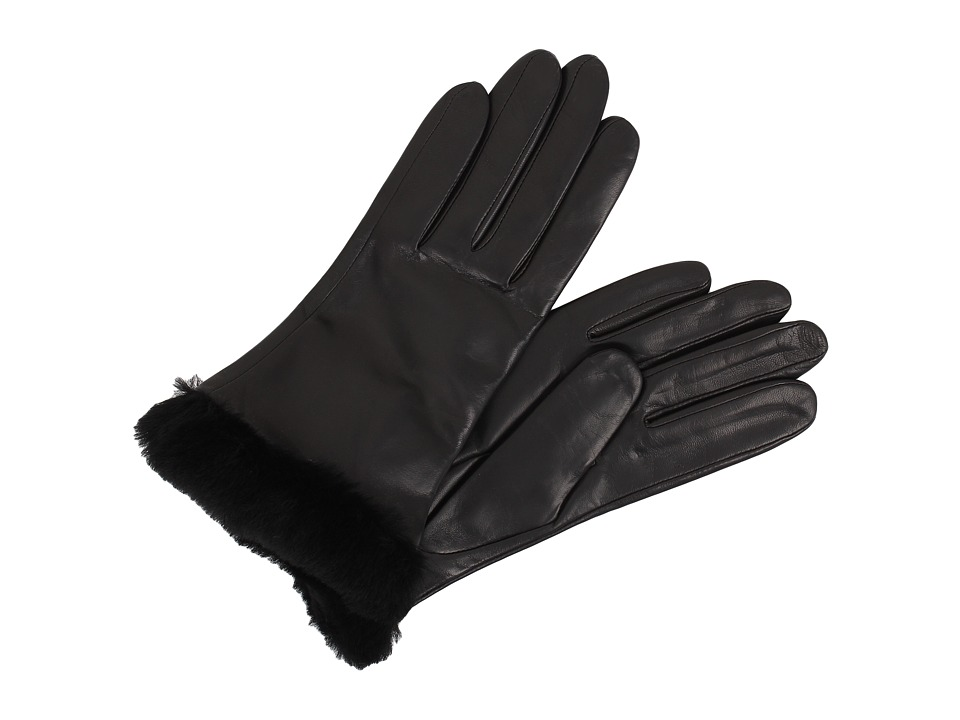 UGG - Classic Leather Shorty Glove (Black) Dress Gloves