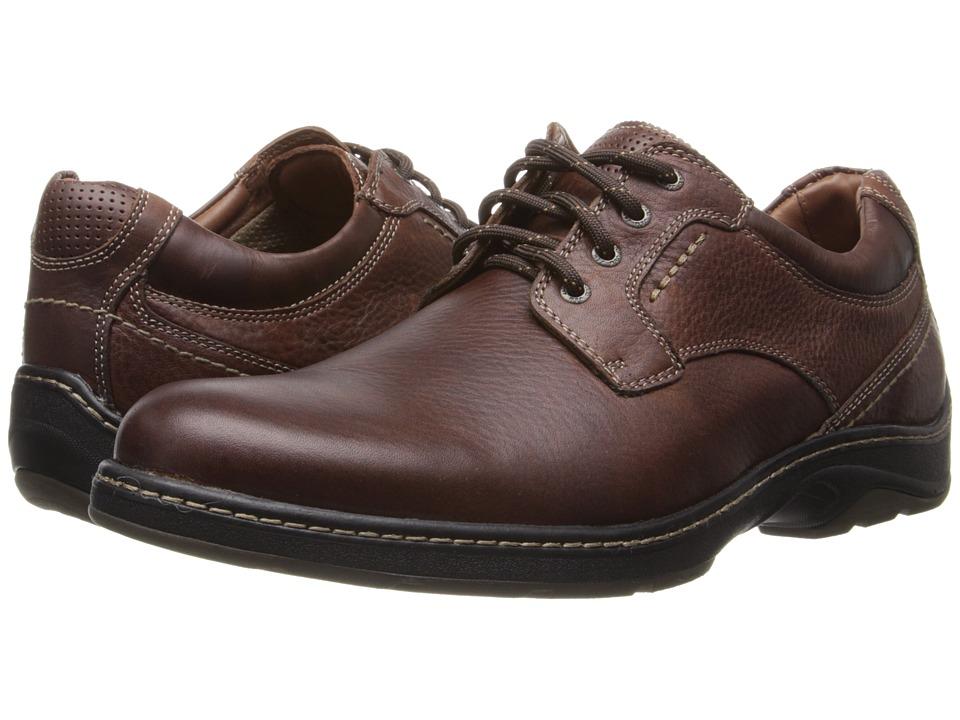 Johnston & Murphy - Fairfield Plain Toe (Mahogany Waterproof Full Grain) Men's Shoes