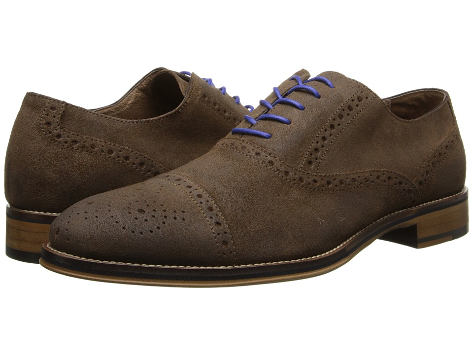 Johnston & Murphy - Conard Cap Toe (Brown Wax Suede) Men's Shoes