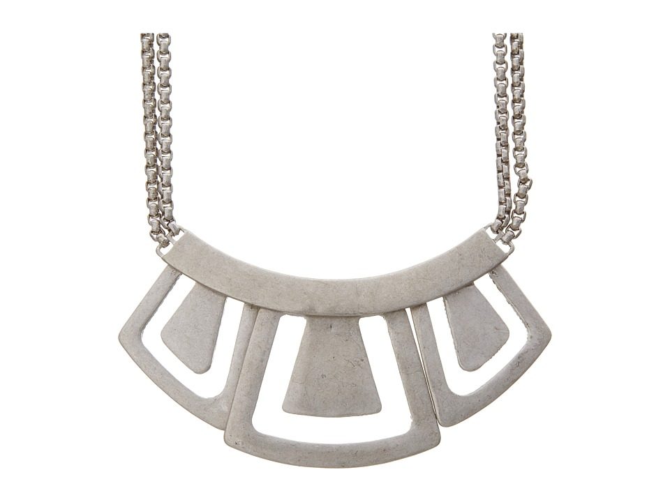 The Sak - Hinged Metal Geo Necklace (Silver) Necklace
