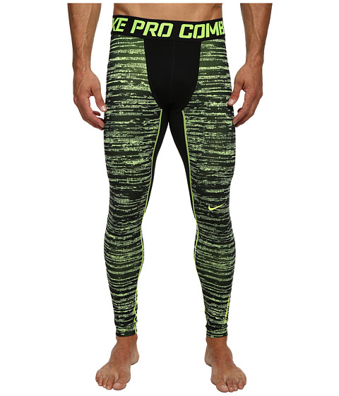 Nike - Pro Combat Hyperwarm Dri-Fit Max Compression Camo Tight (Volt/Black/Volt) Men's Workout