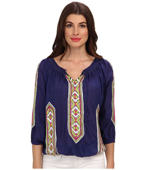 KAS New York - Liberty Smocked Blouse With Emb (Navy) Women
