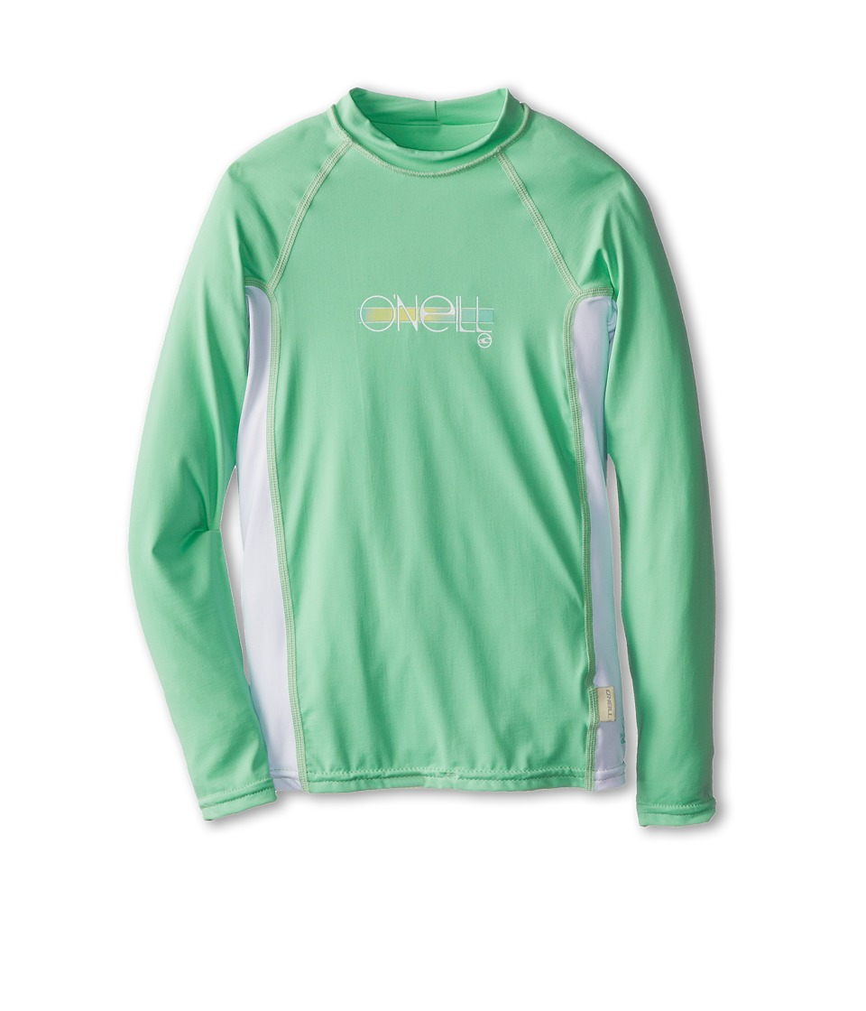 O'Neill Kids - Skins L/S Crew (Little Kids/Big Kids) (Mint/White/Mint) Girl's Swimwear
