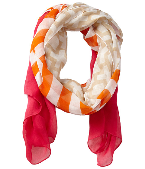 Jonathan Adler - Nixon Stripe Oversized Oblong Scarf (Orange) Scarves