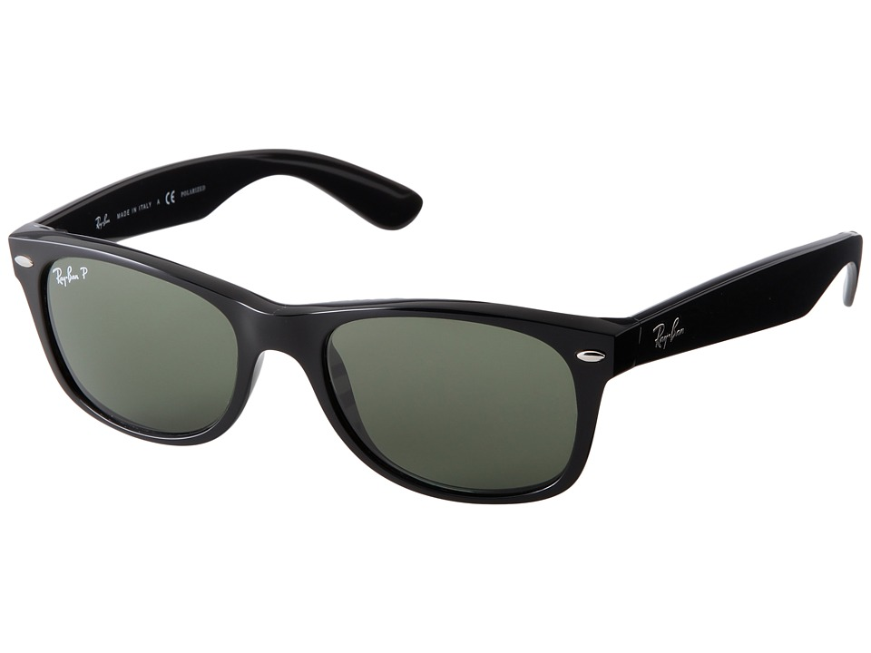 Ray-Ban - RB2132 New Wayfarer 52mm (Black Frame/Green Polarized Lens) Fashion Sunglasses