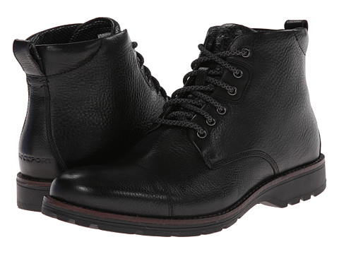Rockport - Total Motion Street Cap Toe Boot - 6 Eyelet (Black) Men