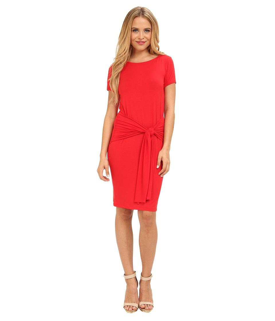 Christin Michaels - Sophia Drape Hip Dress (Red) Women