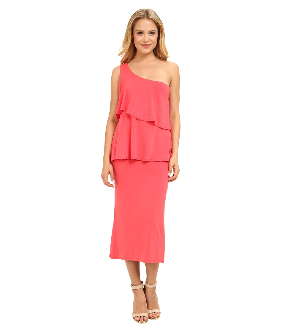 Christin Michaels - Sierra Tiered One Shoulder Dress (Coral) Women's Dress