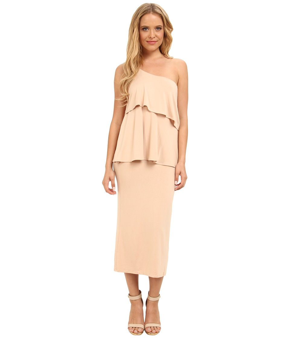 Christin Michaels - Sierra Tiered One Shoulder Dress (Taupe) Women's Dress