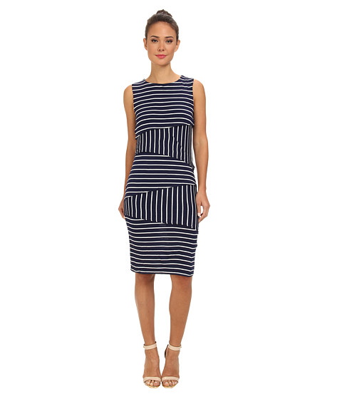 Christin Michaels - Shannon Asymmetrical Tier Dress (Navy/White) Women
