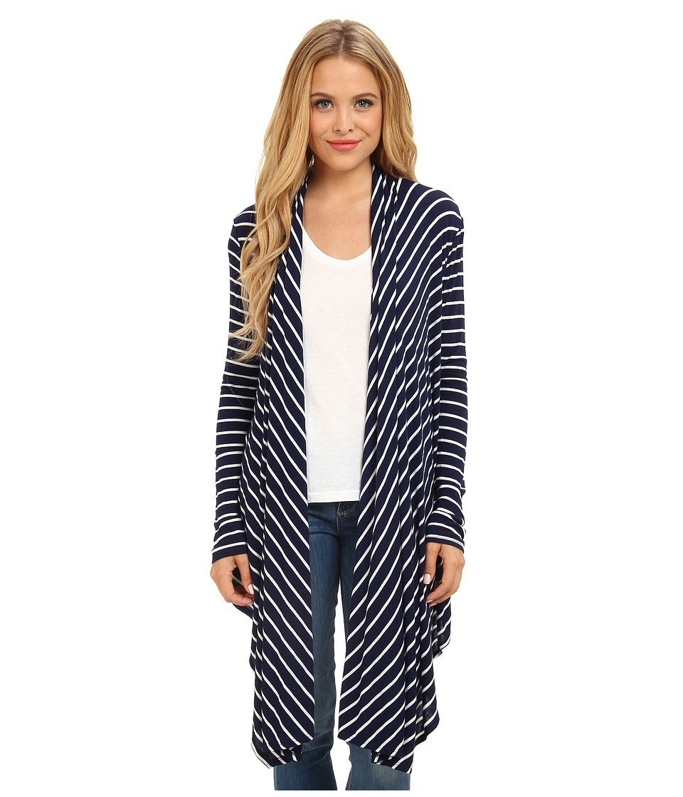Christin Michaels - Noelle Striped Kimono (Navy/White) Women's Sweater