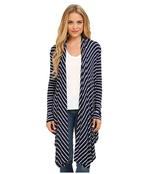 Christin Michaels - Noelle Striped Kimono (Navy/White) Women