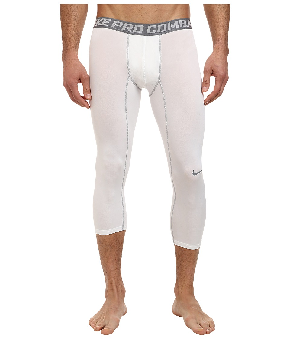 Nike - Pro Combat Core Compression 3/4 Tight (White/Cool Grey) Men's Workout