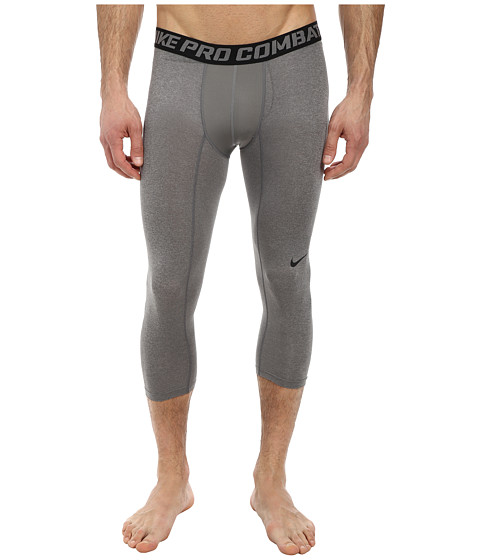 Nike - Pro Combat Core Compression 3/4 Tight (Carbon Heather/Black) Men's Workout