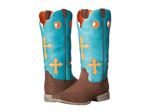 Ariat Kids - Ranchero (Toddler/Little Kid/Big Kid) (Pebbled Chocolate/Turquoise) Kids Shoes