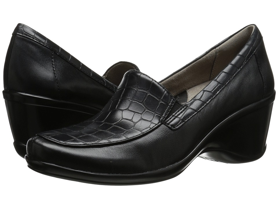 Naturalizer - Irwin (Black Leather/Croco Smooth) Women's Shoes