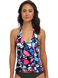 SALE! $39.99 - Save $30 on Caribbean Joe Petal Pusher Side Shirred Halter Top (Navy) Apparel - 42.87% OFF $70.00