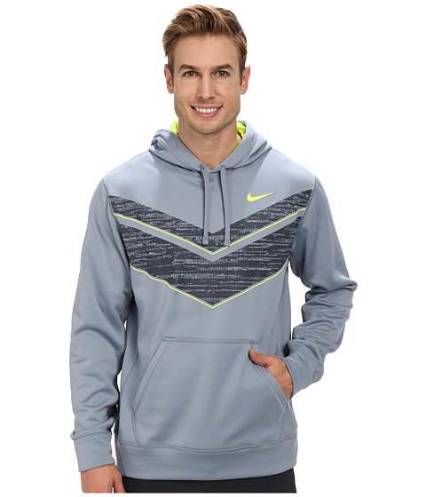 Nike - Chevron KO Hoodie (Magnet Grey/Volt/Dark Magnet Grey) Men's Long Sleeve Pullover