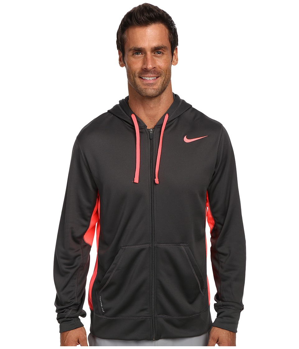 Nike - KO Full-Zip Hoodie 2.0 (Anthracite/Hyper Punch/Hyper Punch) Men's Sweatshirt