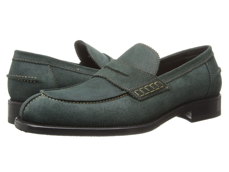 Image of a. testoni - Barbour Suede Loafer w/ Half Rubber Sole (Green) Men's Slip on Shoes