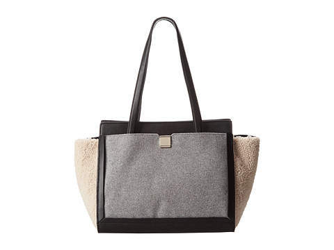 Loeffler Randall - Walker Tote (Natural/Grey/Black Shearling/Melton Wool/Nappa) Satchel Handbags