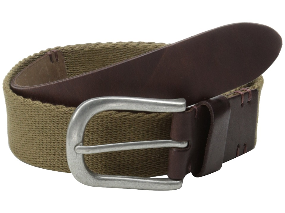 Lucky Brand Webbing Leather Belt Mens Belts (Pewter)