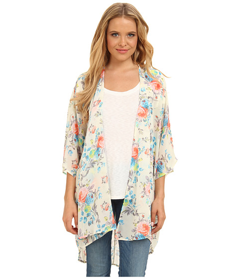 Gabriella Rocha - Estella Floral Maxi Kimono (Coral/Blue) Women's Dress