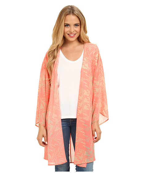 Gabriella Rocha - Kallie Chevron Print Kimono (Pink/Tan) Women's Dress