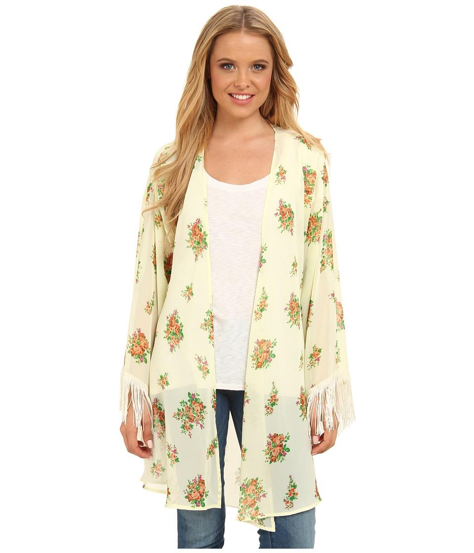 Gabriella Rocha - Lucy Floral Print Kimono (Ivory/Pink) Women's Dress
