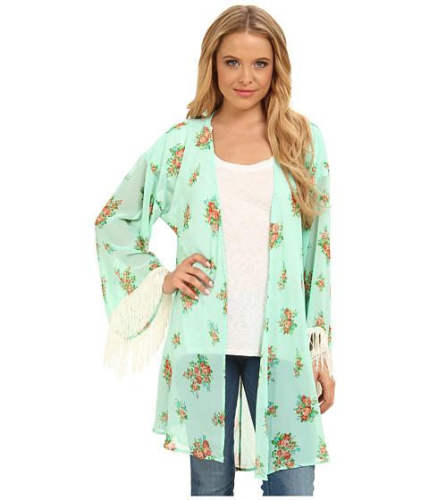 Gabriella Rocha - Lucy Floral Print Kimono (Mint/Pink) Women's Dress