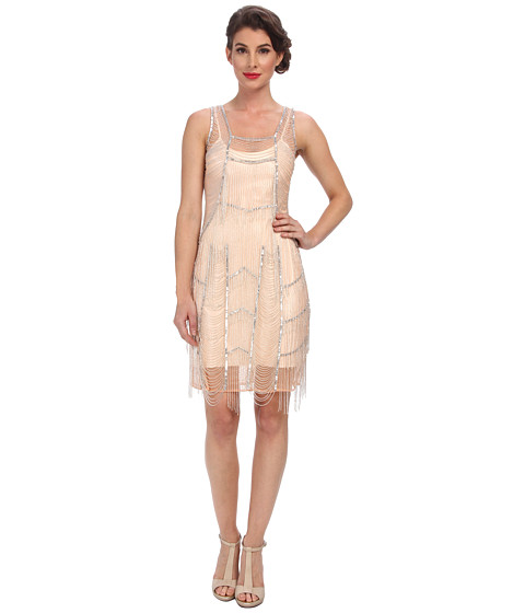 Unique Vintage - Velma Draped Elegance Flapper Dress (Apricot) Women's Dress