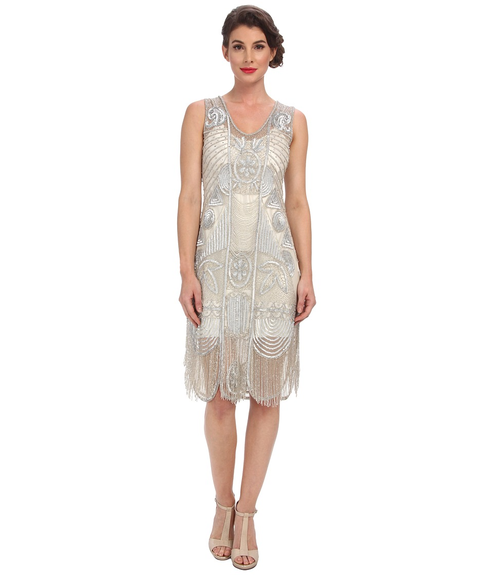 Unique Vintage - The Bosley Beaded Fringed Flapper Dress (Silver) Women's Dress