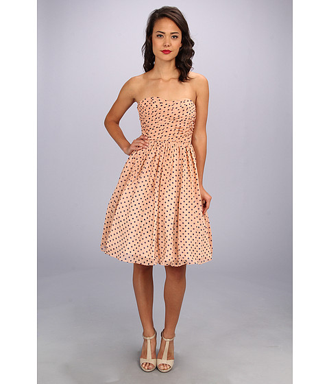 Unique Vintage - Polka Dot Chiffon Dress (Rose/Navy) Women's Dress