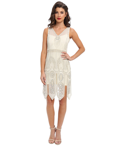 Unique Vintage - The Frannie Art Deco Flapper Dress (White/Silver) Women's Dress