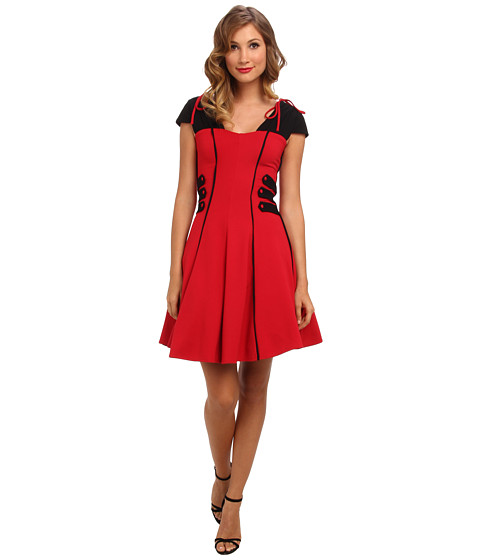 Unique Vintage - Double Knit Jersey Fit and Flare (Black/Red) Women's Dress