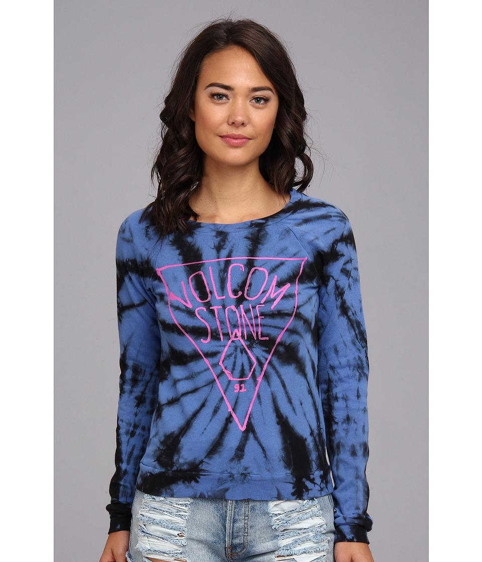 Volcom - Omg I Dye Crew Fleece (Vintage Blue) Women's Long Sleeve Pullover