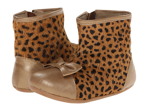 Pazitos - Bowtie Boootie (Toddler) (Gold/Camel Cat) Girls Shoes