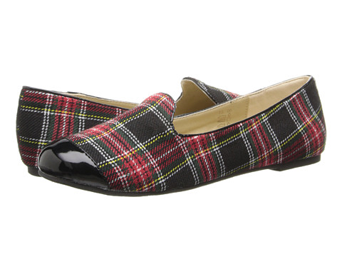 Pazitos - Ritzy Toes Loafer PU (Little Kid/Big Kid) (Black/Tartan Plaid) Girls Shoes