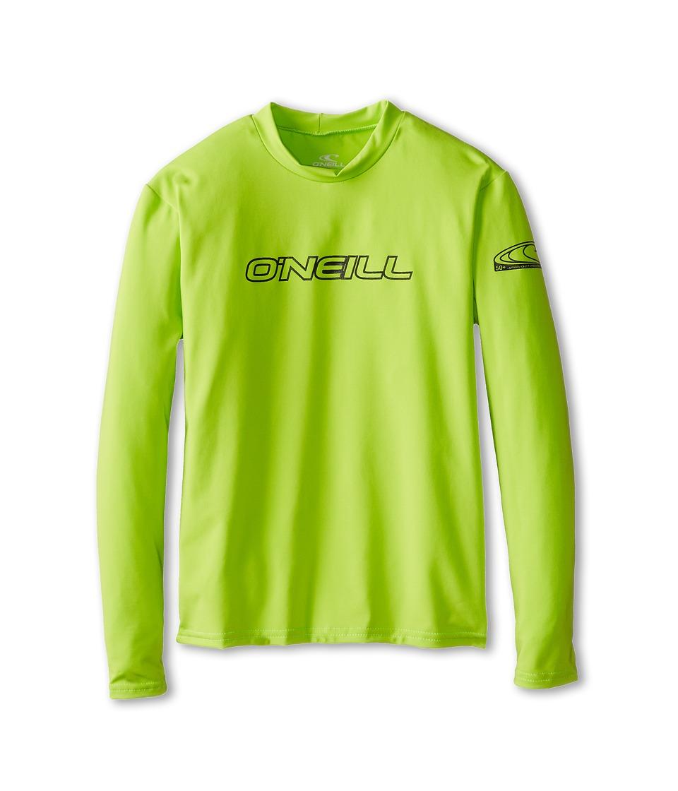 O'Neill Kids - L/S Rash Tee (Little Kids/Big Kids) (Lime) Kid's Swimwear