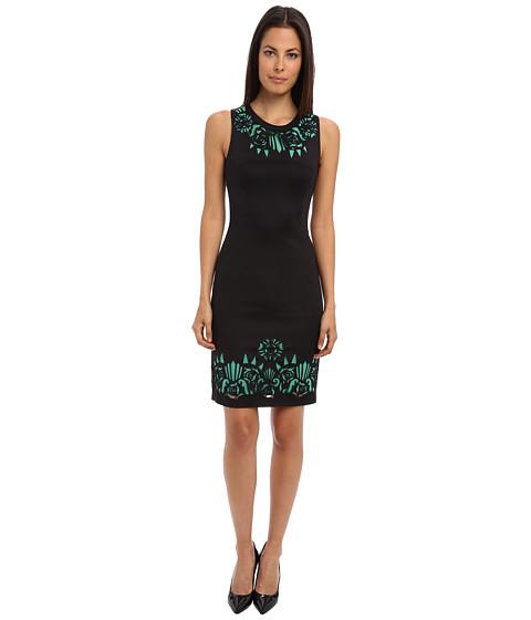 Versace Collection - Jersey Sheath Dress w/ Cutout Detail (Black/Jade) Women
