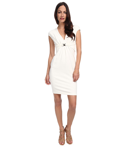 Versace Collection - Jersey V-Neck Dress (White) Women's Dress