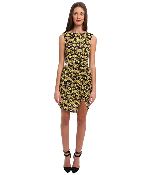 Versace Collection - Printed Jersey Dress w/ Rouching (Black) Women's Dress
