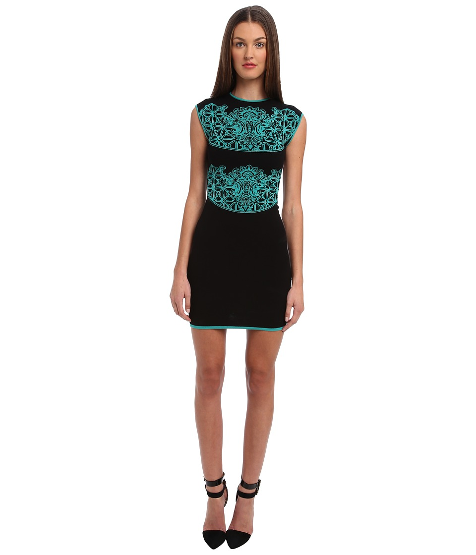 Versace Collection - Knitted Cap Sleever Dress w/ Graphic Design (Black/Turquoise) Women
