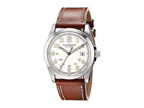 Victorinox - Infantry Swiss (Silver/Brown Leather Strap) Watches