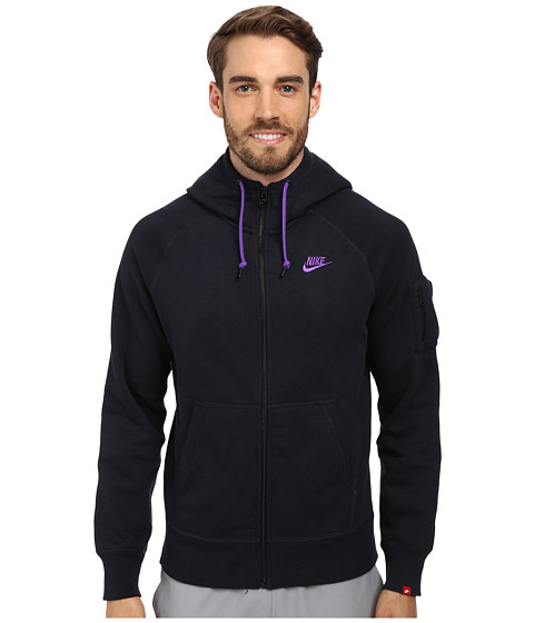 Nike - AW77 Fleece FZ Hoodie (Dark Obsidian/Hyper Grape) Men's Sweatshirt
