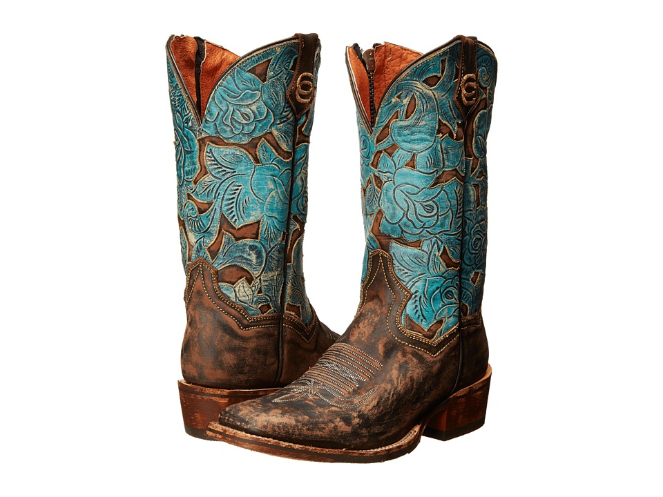 Dan Post - Garden Party (Chocolate Distressed/Turquoise) Cowboy Boots