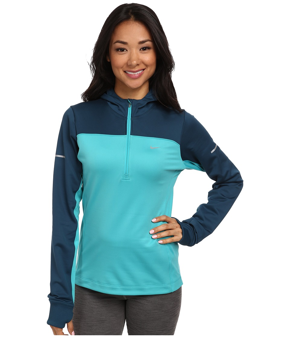 Nike - Thermal Hoodie (Dusty Cactus/Space Blue/Reflective Silver) Women's Long Sleeve Pullover