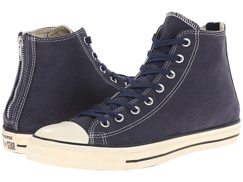 Converse - Chuck Taylor All Star Vintage Washed Twill Back Zip Hi (Navy) Lace up casual Shoes